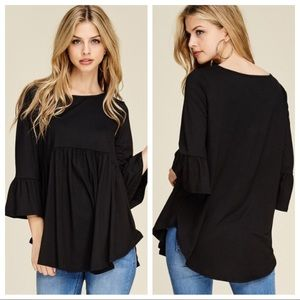 Black 3/4 sleeve baby doll tunic w/ high low sides